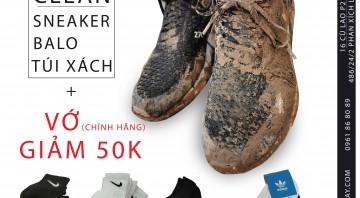 Vệ Sinh Giày,Vệ Sinh Balo, Vệ Sinh Túi Xách mua kèm vớ chính hãng giảm ngay 50k